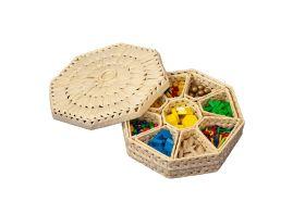 Korb mit Holzlegematerial bunt, ca. 520 Teile