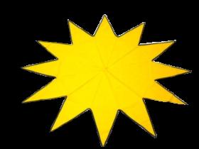 Stoffstern gelb 12 Zacken, 140 cm