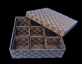 Korb quadratisch dunkelbraun, 9 Einsätze